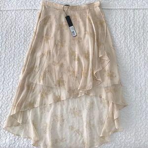 ELIZABETH & JAMES Cream Floral Crinkle Silk Skirt